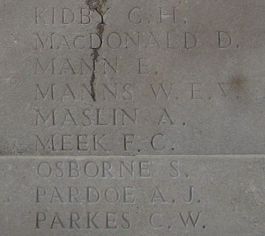 Alfred Maslin on the Soissons Memorial