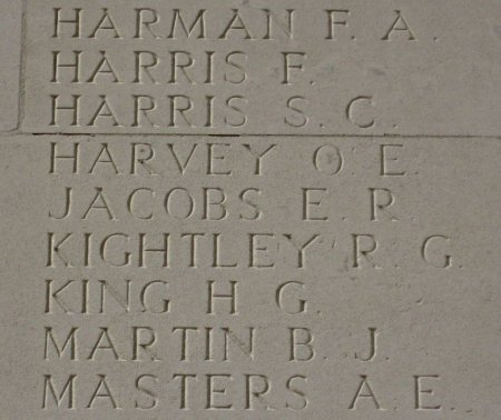 Ernest Jacobs on the Thiepval Memorial, Somme