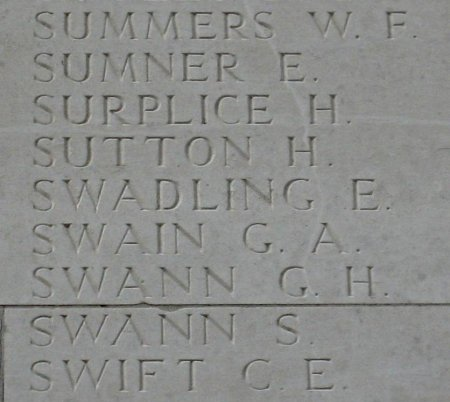 Edward Swadling on the Thiepval Memorial, Somme