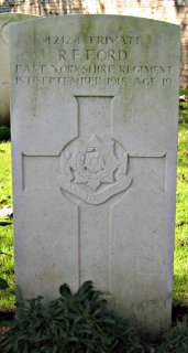 Reginald Ford at Chauny Communal Cemetery British Extension