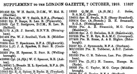 Ernest Spicer's Military Medal citation in the London Gazette