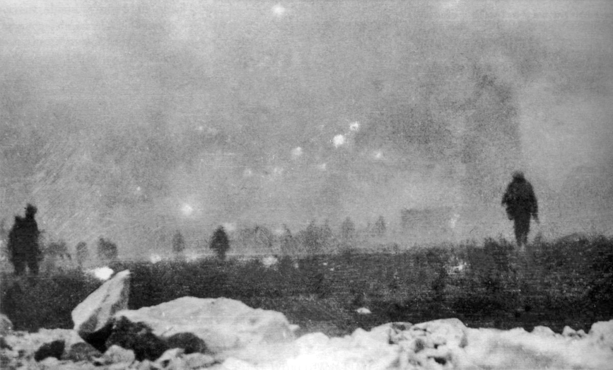 British infantry advancing into a gas cloud during the Battle of Loos, 25 September 1915
