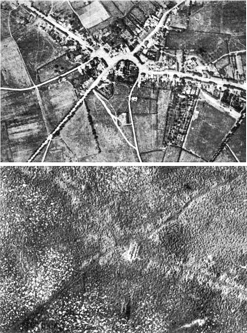 Aerial view of Passchendaele village, before and after the battle